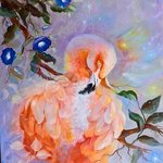 pink flamingo and blue flowers By Camelia Elena