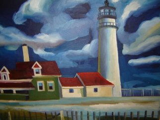 Aleksandr Trachishin Artwork Lighthouse in New England, 2006 Oil Painting, Landscape
