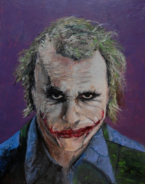 Kao Kabre  'Joker Heath Ledger', created in 2016, Original Painting Oil.