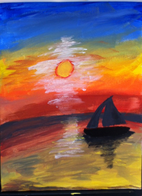 Kara Pifer: sailing in colored water, 2013 Acrylic Painting