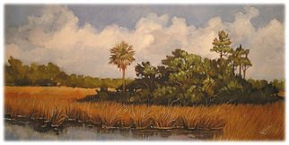 Landscape Acrylic Painting by Karen Burnette Garner Title: Lowcountry View, created in 2008