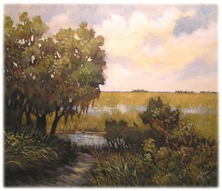 Landscape Acrylic Painting by Karen Burnette Garner Title: Waters Edge, created in 2008