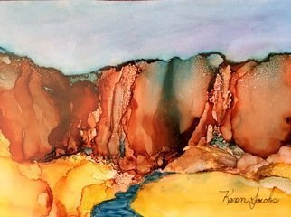 Karen Jacobs: 'GorgeOus', 2017 Ink Painting, Abstract Landscape. Artist Description: Original 7 x 11 on paper.  Includes custom cut mat, backer board and protective sleeve. 8 x 12 prints also available. ...