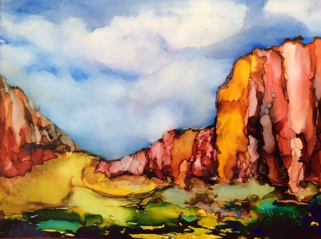 Karen Jacobs  'New Mexico Sky', created in 2018, Original Painting Ink.