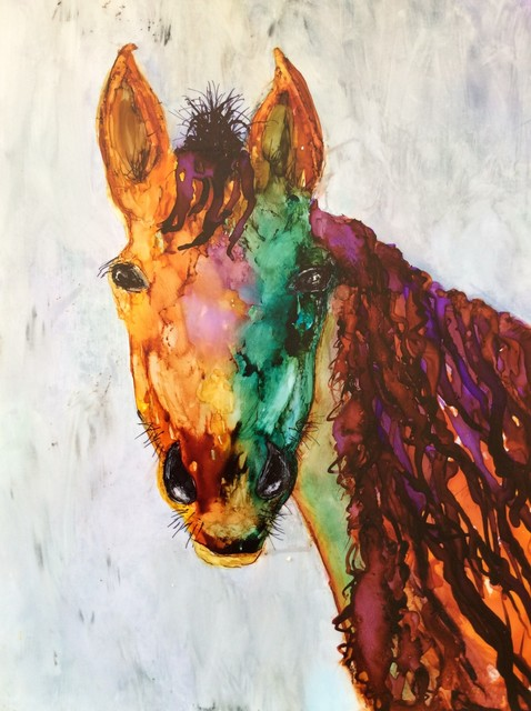 Karen Jacobs  'Old Placitas Horse', created in 2018, Original Painting Ink.