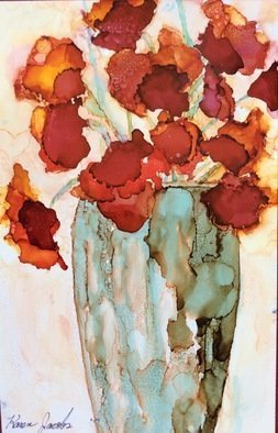Karen Jacobs: 'Red Flowers in Vase', 2017 Ink Painting, Abstract. Artist Description: Original 7 x 11 on paper.  Includes custom cut mat, backer board and protective sleeve. 8 x 12 prints also available. ...