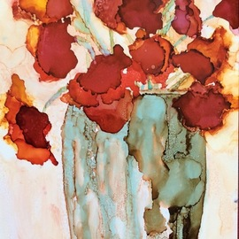 Red Flowers In Vase, Karen Jacobs