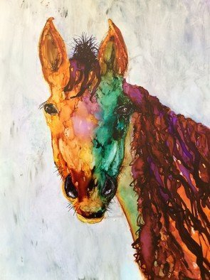 Karen Jacobs: 'old placitas horse', 2018 Ink Painting, Abstract. Artist Description: Original ink on paper. Includes white mat, backer board and protective sleeve. Outside dimension is 11 x 14 and fits in standard frame. Numbered prints also available. ...