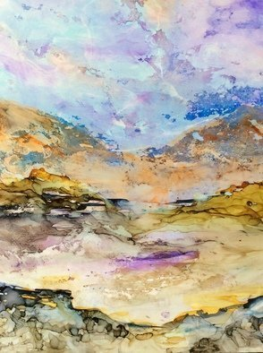 Karen Jacobs: 'pastel hills', 2018 Ink Painting, Abstract Landscape. Artist Description: Original ink on paper. Includes white mat, backer board and protective sleeve. Outside dimension is 11 x 14 and fits in standard frame. Numbered prints also available. ...