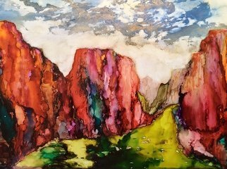 Karen Jacobs: 'rainbow canyon', 2018 Ink Painting, Abstract Landscape. Artist Description: Original ink on paper. Includes white mat, backer board and protective sleeve. Outside dimension is 11 x 14 and fits in standard frame. Numbered prints also available. ...