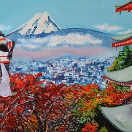 Katarina Radenkovic: 'Japan', 2015 Oil Painting, Travel. Artist Description:  I spent some time in Japan, my impressions of this beautiful culture and  people are impressive. . . ...