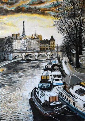 Katarina Radenkovic: 'Paris', 2015 Oil Painting, Travel. Artist Description:  View on the Seine river and the Eiffel Tower, Paris ...