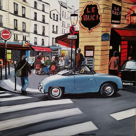 Katarina Radenkovic Artwork Paris cafe, 2015 Oil Painting, Travel