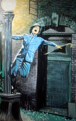 Katarina Radenkovic: 'Singing in the rain', 2009 Oil Painting, Popular Culture.  Gene Kelly in the movie Singing in the rain. . .    ...