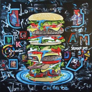 Katarina Radenkovic: 'Take a bite of culture', 2012 Oil Painting, Popular Culture. With the same passion with which you would bite a juicy hamburger, take a bit of culture and immerse yourself in its taste, feel its meaning for the high quality of life. ...