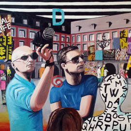 Katarina Radenkovic: 'Tourists', 2014 Oil Painting, Travel. Artist Description:  Passion for travel ...