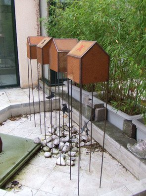 Karine Darriaut: 'Maisons souvenirs', 2008 Steel Sculpture, undecided.  Exterieur . 4 houses , corten steel , pu painting , and birds ( folded ) in black steel. ...