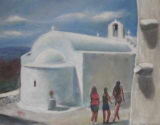 Landscape Acrylic Painting by Aris Kalafatis Title: Amorgos, created in 2009