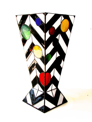 Geometric Stained Glass by Hana Kasakova titled: Georgia, created in 2014