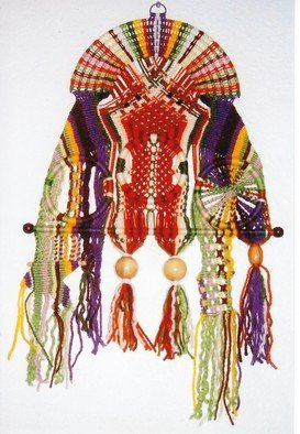 Kathie Freeman: 'Celestial Warrior', 2014 Fiber, Indiginous. Artist Description:   This hand knotted macrame wall hanging was created from odds and ends of yarn left over from other projects. ...