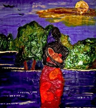 Kathleen Flowers Artwork African Mother and Child, 2012 Encaustic Painting, Abstract