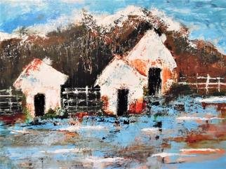 Kathleen Flowers: 'dwellings', 2017 Acrylic Painting, Abstract Landscape. Artist Description: Dwellings focus the non appeal of shelter and living by simple means. acrylic, pallet knife used...