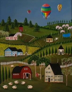 Kathryn Ramos Artwork Sunflower Farm, 2006 Acrylic Painting, Americana