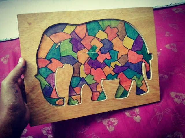 Kavitha Balasubramanian  'Wooden Elephant Sketch', created in 2019, Original Woodworking.