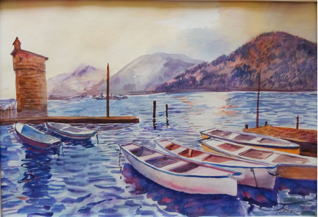 Natalia Kavolina  'Boats In The Bay', created in 2018, Original Watercolor.