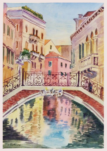 Natalia Kavolina  'Bridge In Venice No 24', created in 2018, Original Watercolor.