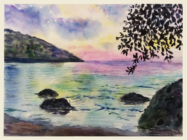 Natalia Kavolina  'Evening In Seychelles', created in 2018, Original Watercolor.