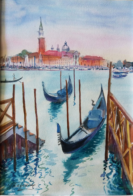 Natalia Kavolina  'Gondolas In Venice No 3', created in 2018, Original Watercolor.