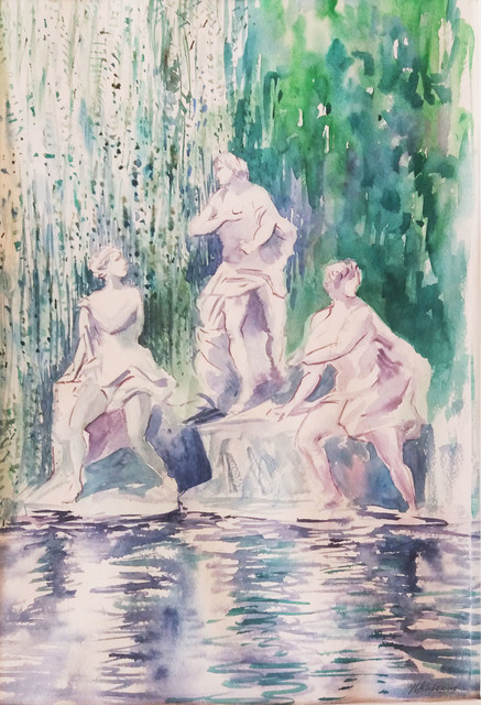 Natalia Kavolina  'Sculptures Of Caserta', created in 2018, Original Watercolor.
