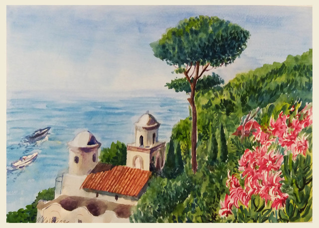 Natalia Kavolina  'Seascape In Ravello', created in 2018, Original Watercolor.