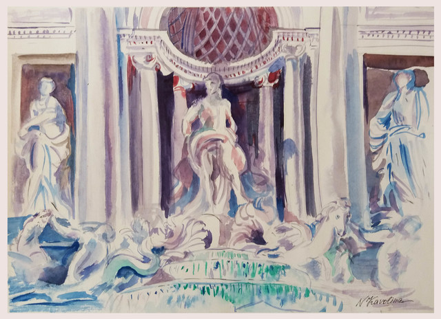 Natalia Kavolina  'Trevi Fountain No 3', created in 2018, Original Watercolor.