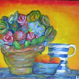 Kay Liebenberg: 'Sunrise of Flowers', 2015 Acrylic Painting, Still Life. Artist Description:  Flowers, Sun, Sunrise, Warm, Rose, Bowl, Fruit, Still Life, Sunny, Red, Blue, Jug, Blue and white, beautiful, expressive, expressionistic, Impressionism  ...
