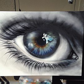 Kyle Boatwright: 'Vision', 2015 Other Painting, Portrait. Artist Description:  eye, eyes, portrait art, street art, mural, realism ...