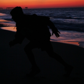 Kristine Caroppoli: 'Mercury Rising III', 2010 Color Photograph, Figurative. Artist Description:  Caroppoli, digital photograph, photo, photography, image, picture, figure, figurative, silhouette, color, motion, mercury, rising, running, run, greek, god, raise, determination, strength, beach, colorful, brilliant, pulsating, energentic, vitality, spirit, spiritual, vivid, rich, vibrant, splender, human, body, soul, evocative, mythical ...