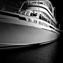 Kristine Caroppoli: 'Miss Hatteras I', 2011 Black and White Photograph, Boating. Artist Description:  caroppoli, digital photography, black and white, marina, charter boat, fishing, seamen, sea, Hatteras, OBX, deep sea fishing, boating,    ...