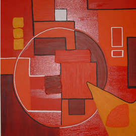 Katie Gunther Artwork Red Circle, 2004 Acrylic Painting, Abstract