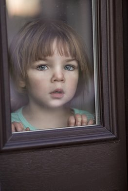 Kymberley Chiorando: 'thru the looking glass', 2017 Color Photograph, People. Artist Description: Scarlett, captured, framed, child, impish, elfen, painted...