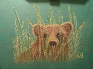 Karen Bernard: 'Little Bear', 2014 Pastel, Nature. Artist Description:  Hand drawn original pastel of baby bear in meadow grass. Pencil pastel on green pastel paper. ...