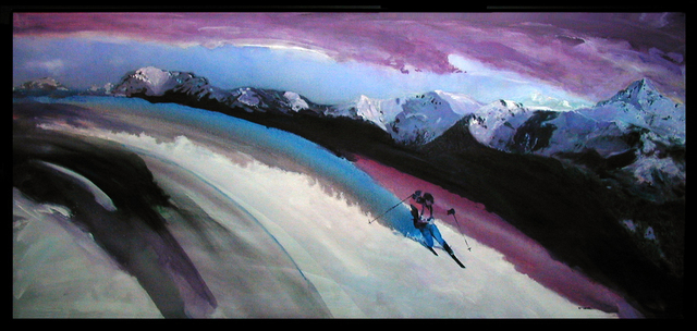 Steve Kiene  'Tele Skier', created in 1997, Original Printmaking Giclee - Open Edition.