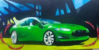 Kees Van Eyck Artwork Green Spicy Motion, 2014 Acrylic Painting, Automotive