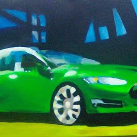 Kees Van Eyck: 'Green Spicy Motion', 2014 Acrylic Painting, Automotive. Artist Description: Tesla electric cara couple of red ibises...