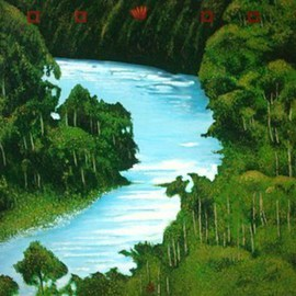 Kees Van Eyck: 'Odowood a silent heraldry', 2002 Acrylic Painting, Scenic. Artist Description:   impression from the Amazone rainforest in serious danger because of extreme treecutting.         ...