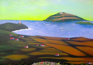 Acrylic Painting by Kees Van Eyck titled: Smart Island 5 Panoramic, 2014