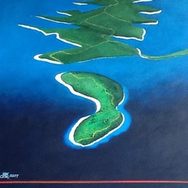 Kees Van Eyck: 'the pearl trail', 2017 Acrylic Painting, Meditation. Artist Description: Dalmatian Islands...