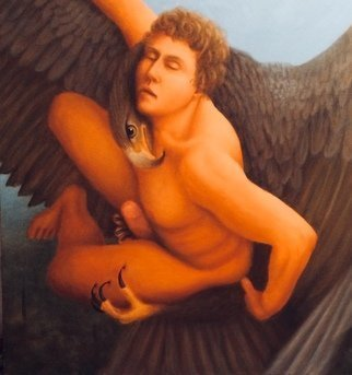 Michael Kehrlein: 'abduction of ganymede', 2016 Oil Painting, Erotic. Zeus looked down on the earth and saw Ganymede the most beautiful human. Changing onto the form of an eagle Zeus swept down and abducted the beautiful young man. With one set of claws he held the young mans thigh and the other grasping his genitalia Zeus flew off to ...