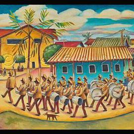 L. Kelen: 'Parade  Bonaire', 2005 Oil Painting, Military. Artist Description: Oil on Linen.Its not framed yet. . .and so Im not ready to sell it....